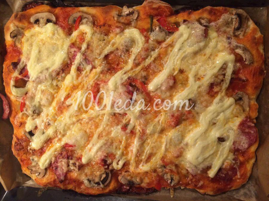 Пицца пошаговый рецепт с с колбасой и сыром