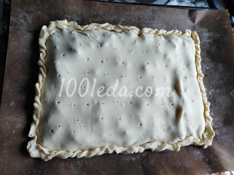 Пирог из слоеного теста с грибами-строчками и картофелем: пошаговое фото - Шаг №4
