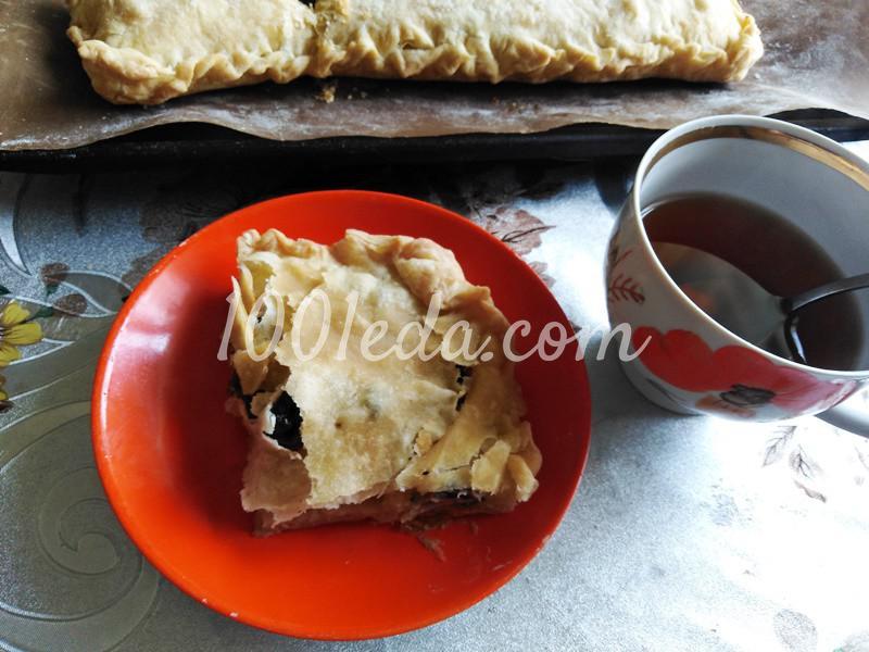 Пирог из слоеного теста с грибами-строчками и картофелем: пошаговое фото - Шаг №6