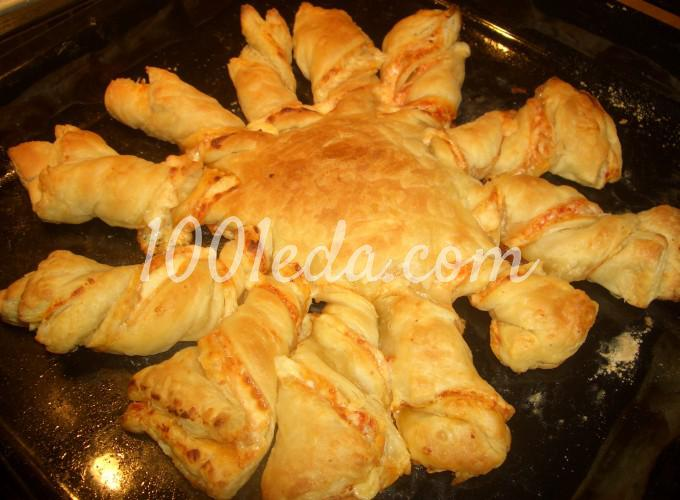 Пирог - закуска Завитушечное солнышко: рецепт с пошаговым фото - Шаг №6