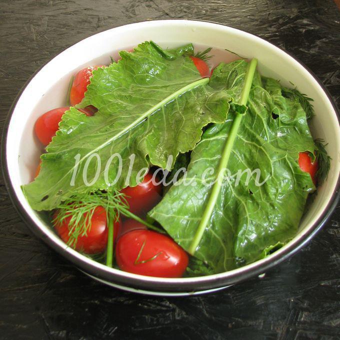 Помидоры, квашеные с чесноком, укропом и листьями хрена - Шаг №7