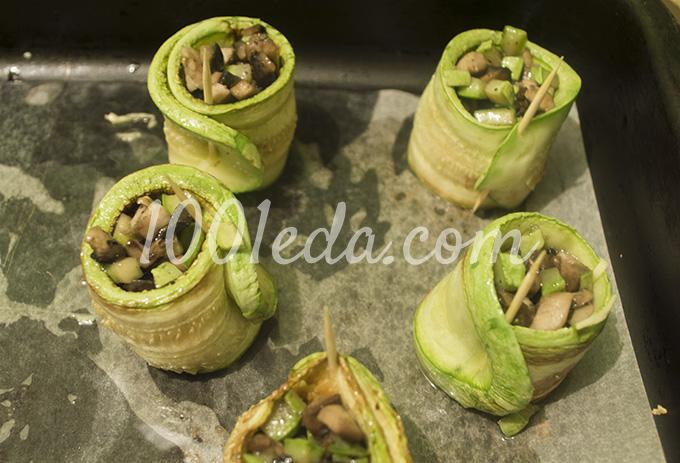 Рулет кабачки с грибами