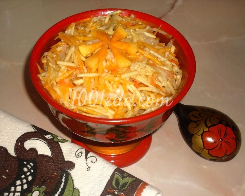 Постный салат из тыквы с квашеной капустой и яблоком: рецепт с пошаговым фото