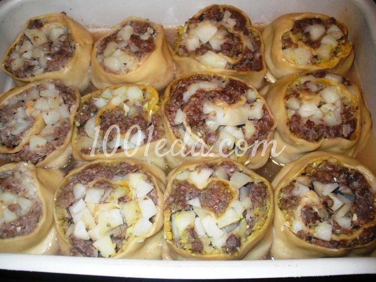 Штрудель с мясом и картофелем в духовке: пошаговый с фото - Шаг №11
