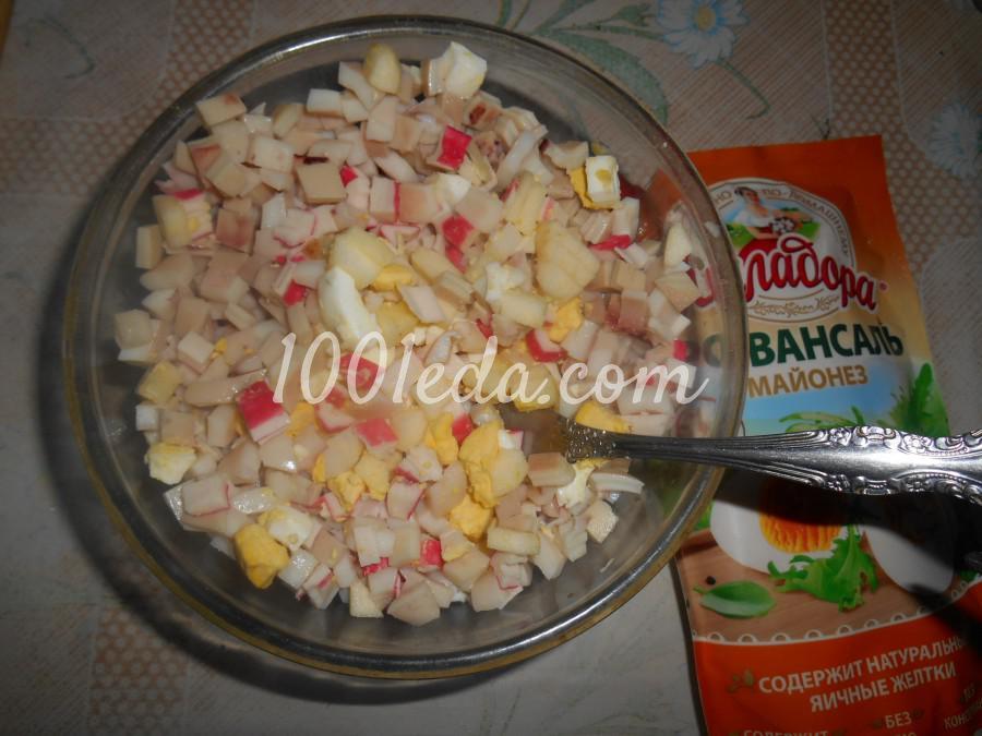 Салат с кальмарами, крабовыми палочками и яблоком: пошаговый с фото - Шаг №5