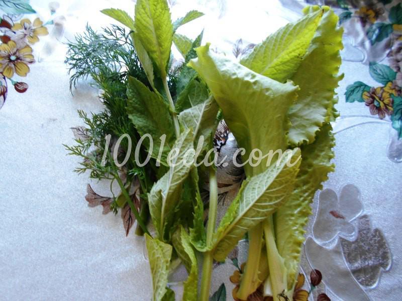 Салат из любимых травок с заливкой: пошаговое фото - Шаг №1