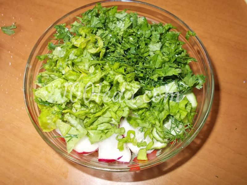 """Салат из редиса с зеленью """"Зеленая полянка"""": пошаговый с фото - Шаг №3"""