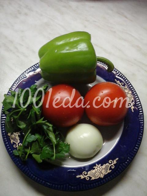 Салат вегетарианский из помидоров, болгарского перца и лука- Шаг №1