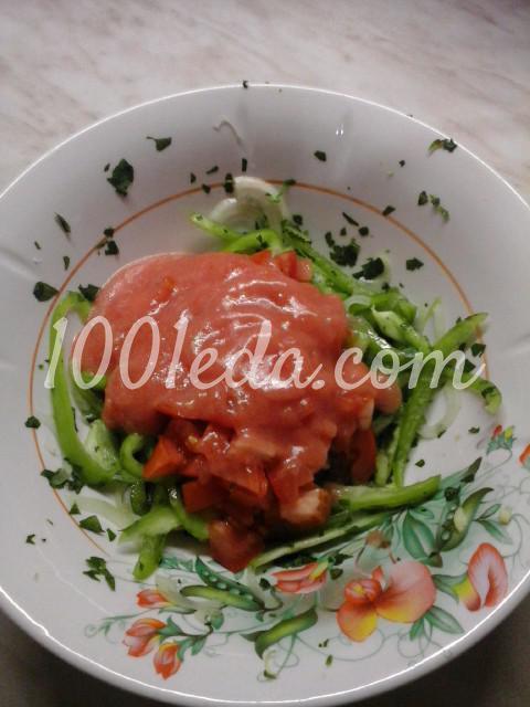 Салат вегетарианский из помидоров, болгарского перца и лука: пошаговый с фото - Шаг №8