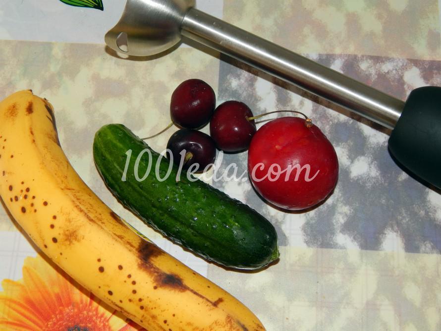 Смузи с бананом, клубникой и огурцом: пошаговое фото - Шаг №1