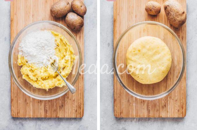 Веганская картофельная лапша с квашеной капустой и грибами - Шаг №3