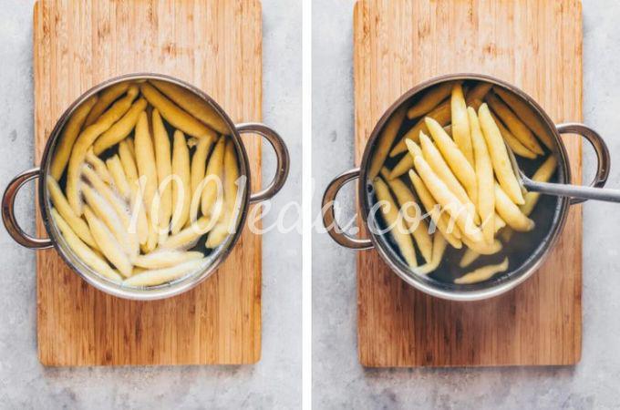 Веганская картофельная лапша с квашеной капустой и грибами - Шаг №6