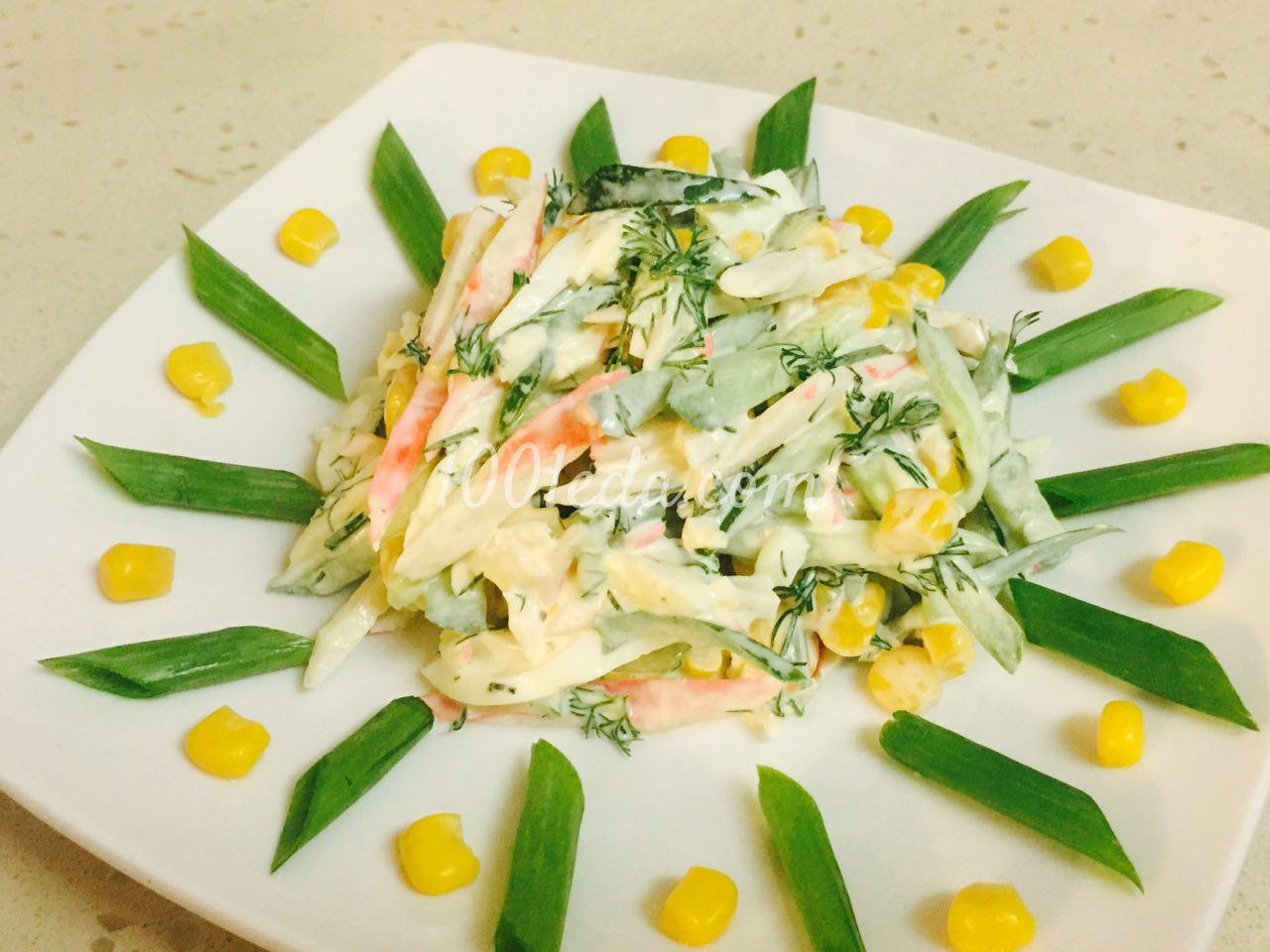 Салат с крабовыми палочками и со свежим огурцом