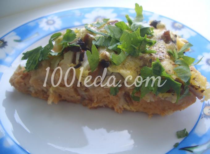Открытый хлебный пирог с курицей и грибами: рецепт с пошаговым фото