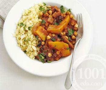 Кускус с печеными овощами, нутом и миндалем, пошаговый рецепт с фото