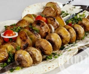 Шашлык из картошки и шампиньонов