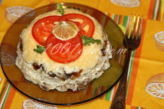 Салат Мужской аппетит с рисом и куриным мясом