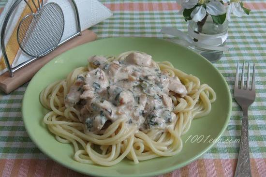 Сметанный соус для спагетти с курицей с фото