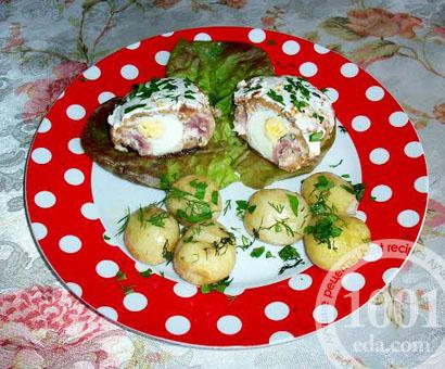 Яйца вареные в мясном фарше с шинкой: рецепт с пошаговым фото