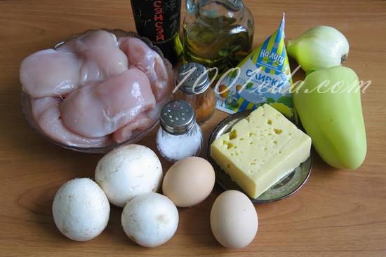 Жюльен-пирог из курицы и шампиньонов , пошаговый рецепт с фото
