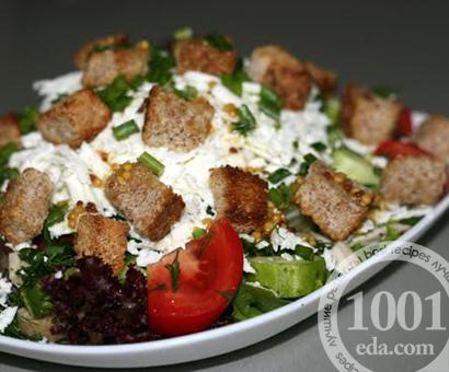 Овощной салат с курицей и сухариками: рецепт с пошаговым фото