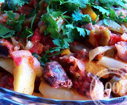 Азу из куриных желудочков: рецепт с пошаговым фото