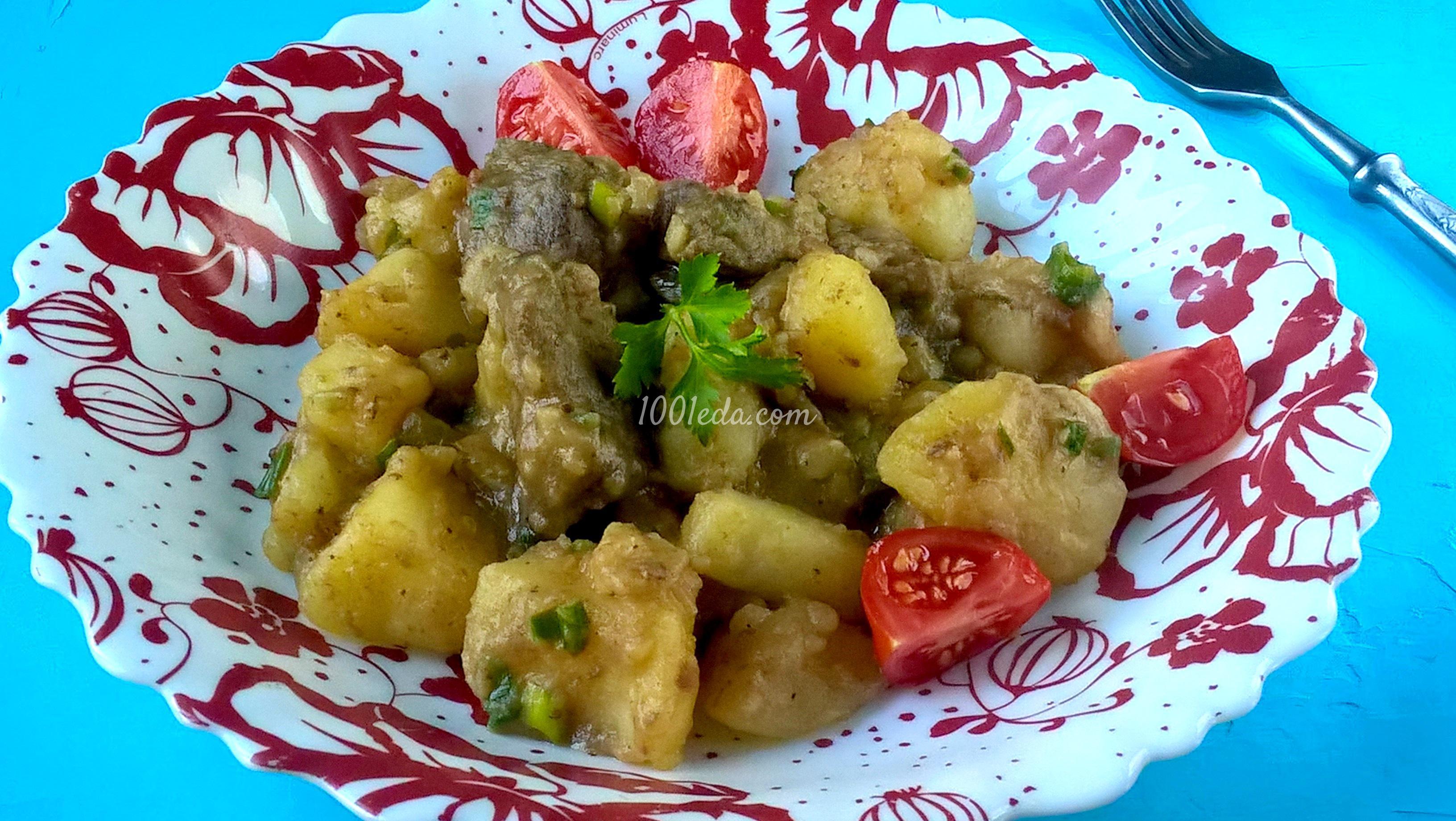 Жареная говяжья печень с картошкой рецепт пошагово