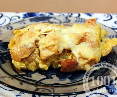 Курица, запеченная с грибами и рисом