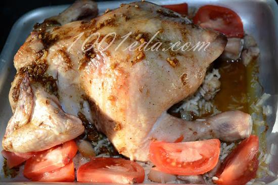 Фаршированная курица в рукаве с рисом в духовке рецепт с фото