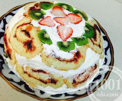 Торт Черепаха с фруктами и ягодами