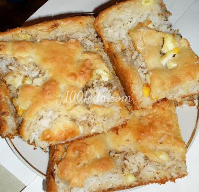 Пирог с рисом и консервой рецепт