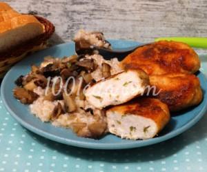 Куриные котлеты с плавленым сыром с кашей на гарнир
