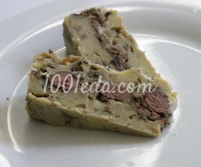 Запеканка из куриной печени с картофельно-грибным пюре