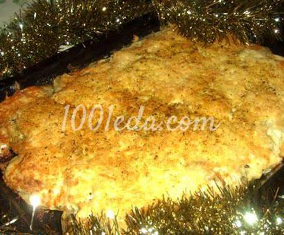 Свиная вырезка, запеченная с луком и картофелем под сырной шубкой