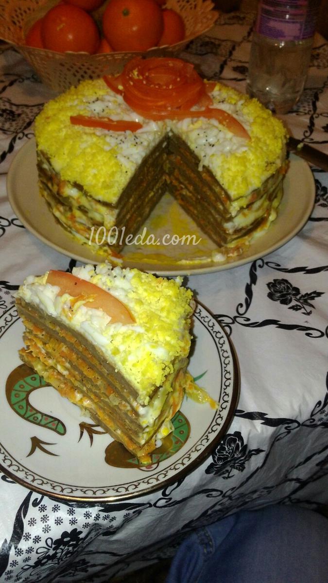 Печеночный торт с морковью луком и грибами