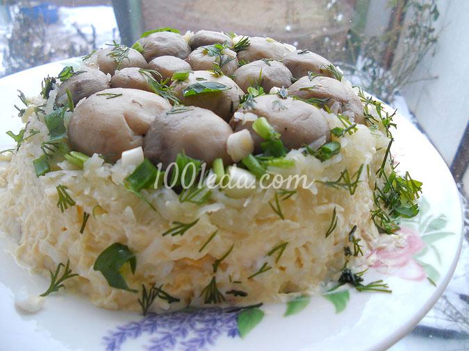 Салат полянка с шампиньонами и курицей рецепт с пошагово