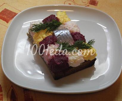 Закуска из селедки с яйцом и свеклой