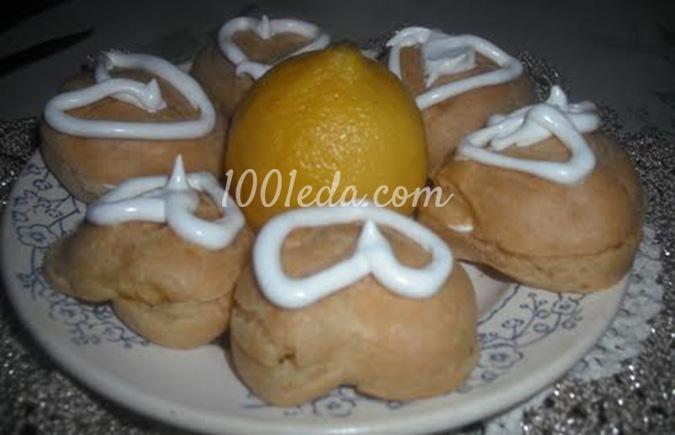 Заварные валентинки с лимонным белковым кремом