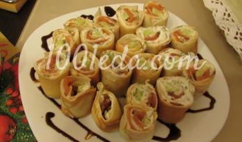 Ролл в омлетном блинчике – кулинарный рецепт