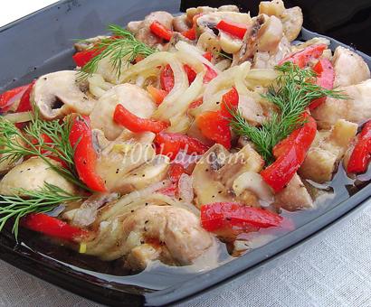 Салат из свежих шампиноьнов, сладкого перца и лука: рецепт с пошаговым фото