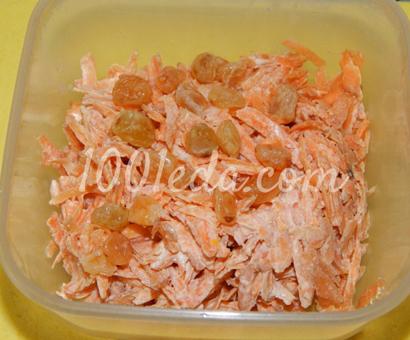 Детский морковный салат с изюмом