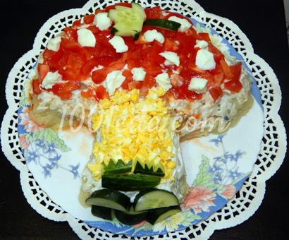 Детский салат Мухомор: рецепт с пошаговым фото