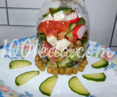 Овощной салат с сыром и крабовыми палочками Наслаждение