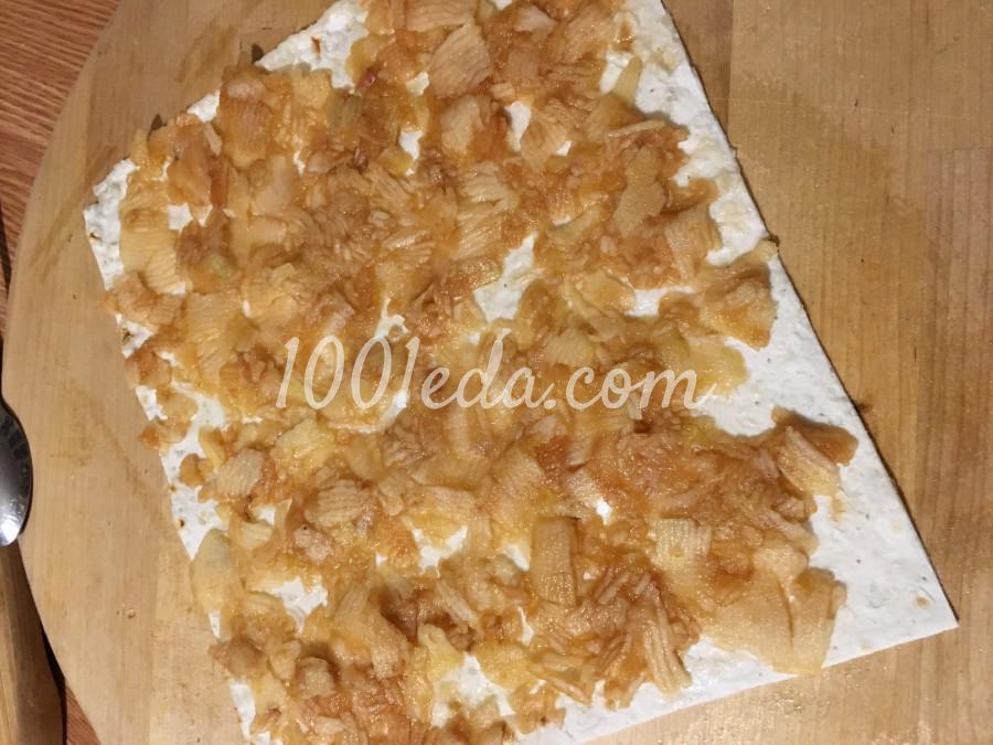 Сочный десерт из лаваша и яблок без выпечки: рецепт с пошаговым фото - Шаг №6