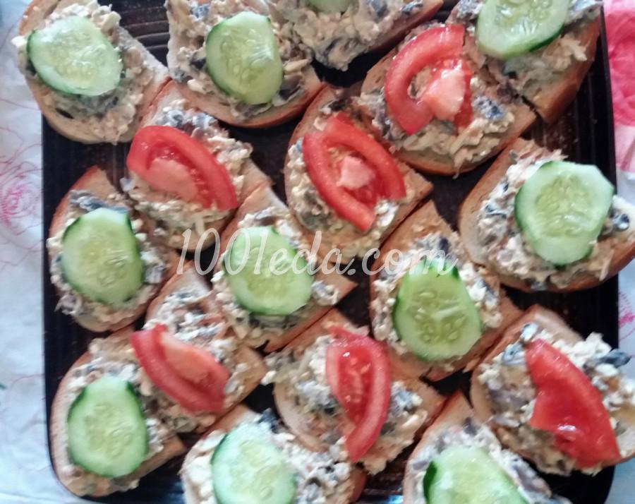 Закусочные бутерброды с грибами и сыром