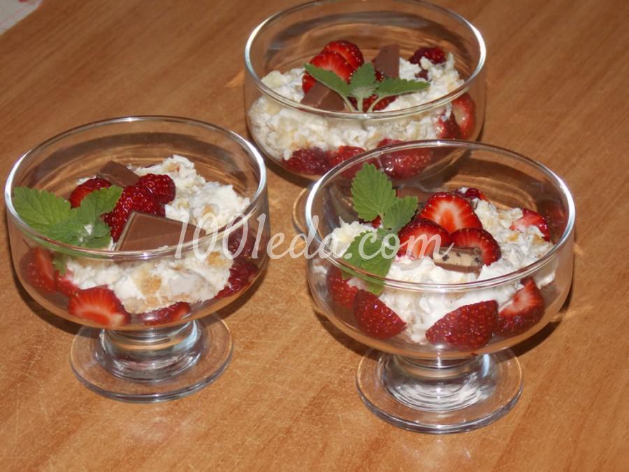 Сметанно-клубничный десерт Нежность: пошаговый с фото