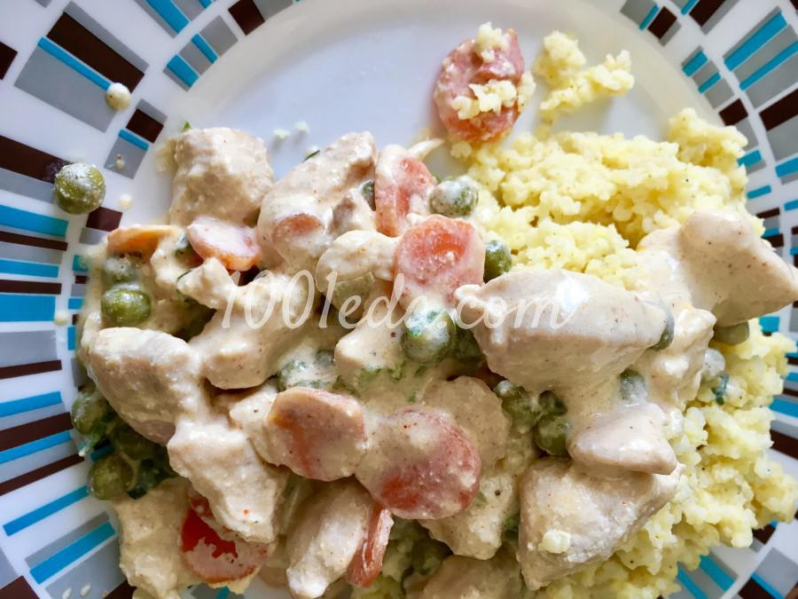 Бефстроганов из куриной грудки с овощами: пошаговый с фото