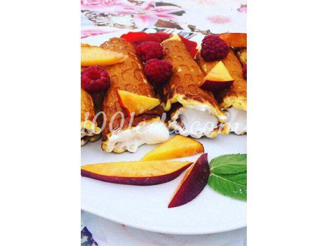 Вафли на греческом йогурте с заварным белковым кремом: пошаговый с фото