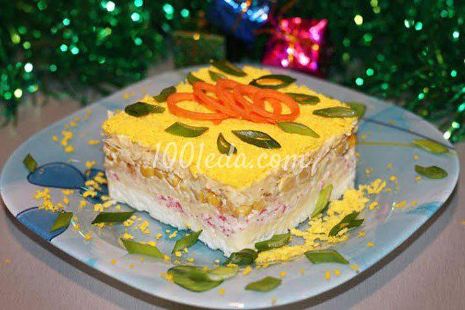 Нежный крабовый салат Праздничный с яблоком и домашним майонезом