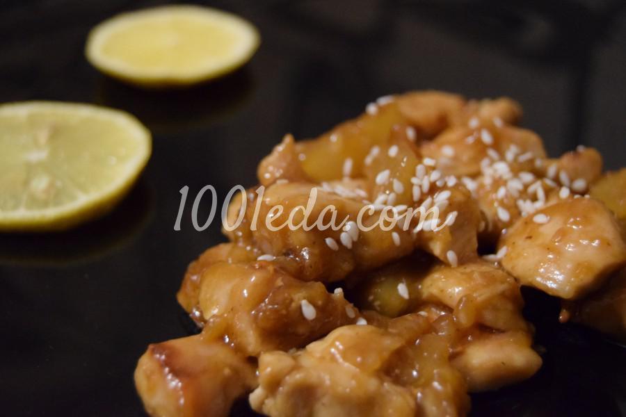 Праздничная курица с ананасами на сковороде: пошаговый с фото